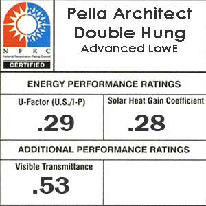 Pella architect double hung NFRC numbers